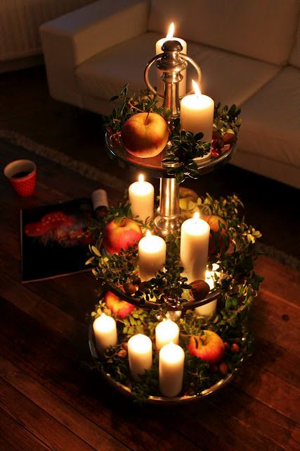 candles on a decorative tray christmassy things pinterest seasons christmas trees and. Black Bedroom Furniture Sets. Home Design Ideas