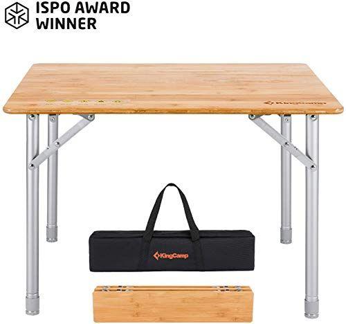 New Kingcamp Bamboo Folding Table With Carry Bag Ispo Award 4 Fold Heavy Duty Adjustable Height Alumin Camping Table Camping Sleeping Pad Portable Picnic Table
