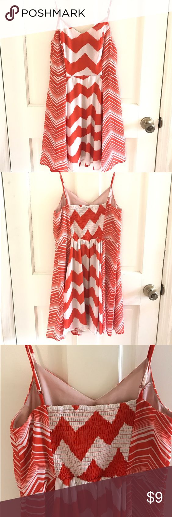 Fire Los Angeles summer spaghetti strap dress M NWOT Orange and cream flowy summer dress accentuates the smaller part or your waist. Fire Los Angeles Dresses Mini