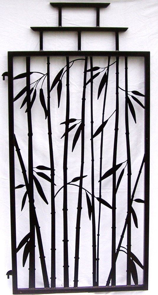 Steel Bamboo Fence Gate Asian Temple Style 6 Tall Wrought