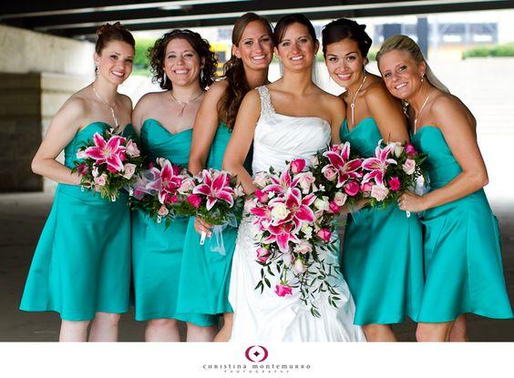 bridesmaids dress color and stargazer lilies