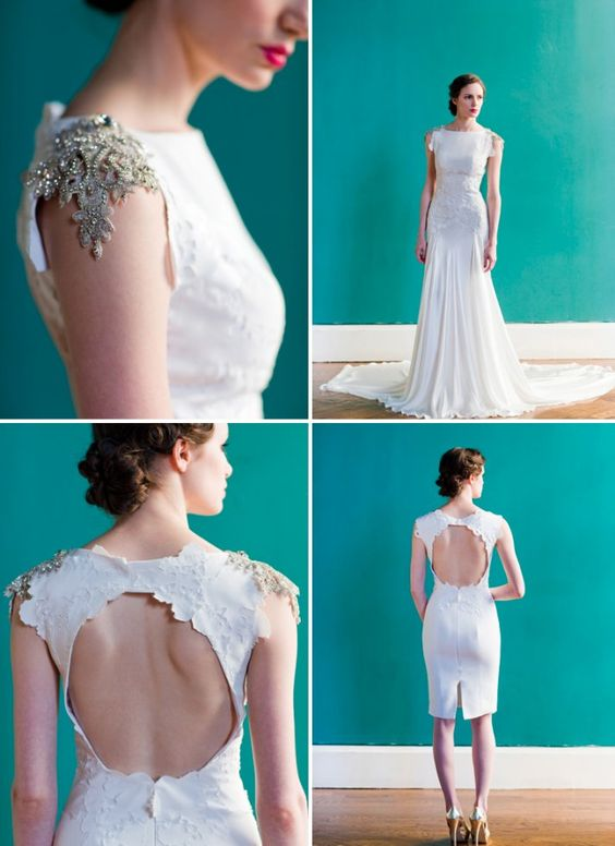 The beautiful shoulder details, cut out back, & elegance of this #wedding dress are amazing!