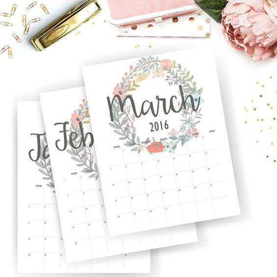 Printable 2016 par mois calendrier calendrier par SunshineParties