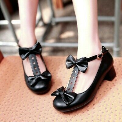 Sweet Mary Janes T-Bars Bowknots Low Heel Pumps Womens Lolita Shoes Plus Size