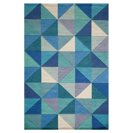 Hand-tufted wool rug with geometric motif.   Product: RugConstruction Material: 100% WoolColor: Blue