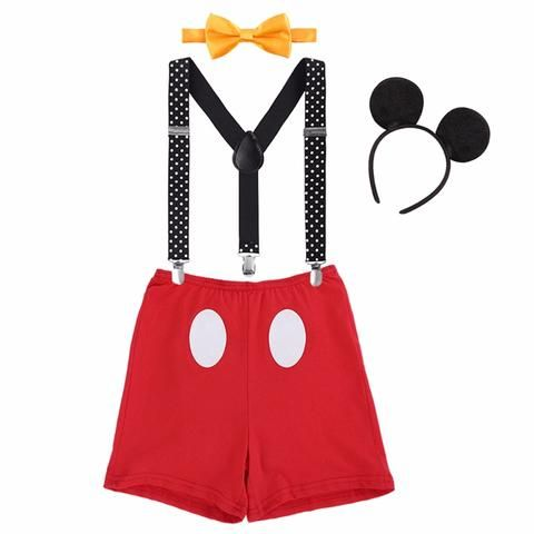 Baby Boy Cute Mouse First 1st Birthday Outfit 4PCS Cake Smash Photo Shoot Prop