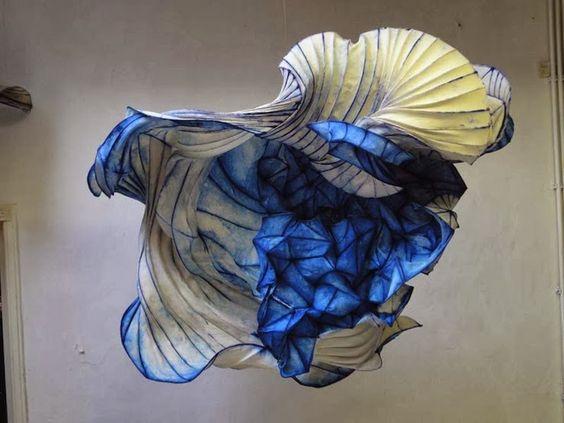 Blue - paper - sculptures - Peter Gentenaar