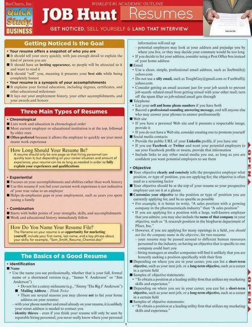Quickstudy Job Hunt Resumes Laminated Reference Guides Job Hunting Resume Tips Resume Skills