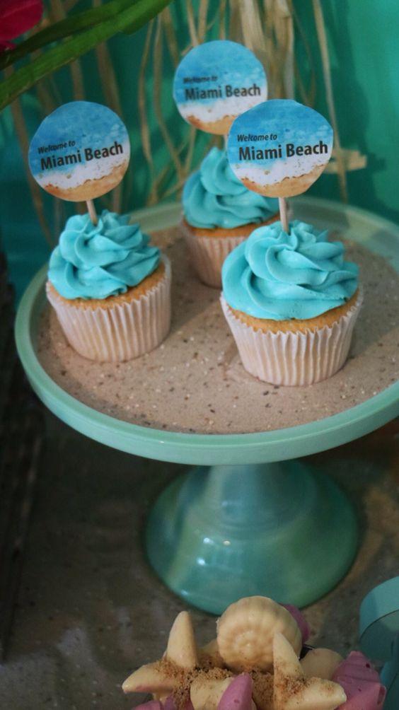 Miami Beach Theme Cupcakes Cake Pops Cookies Pinterest