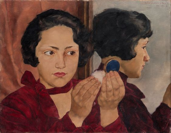 Lotte Laserstein (1898-1993, German-Swedish), 1928, Russian Girl with Compact, Oil on panel, 31.7 x 41.0 cm.