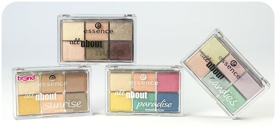 "hi beauties, have you discovered the ""all about … eyeshadow palettes"" yet? there are four color combinations to choose from and they each contain various effects.  which palette will you go for?  #essence #eyeshadow #eyes"