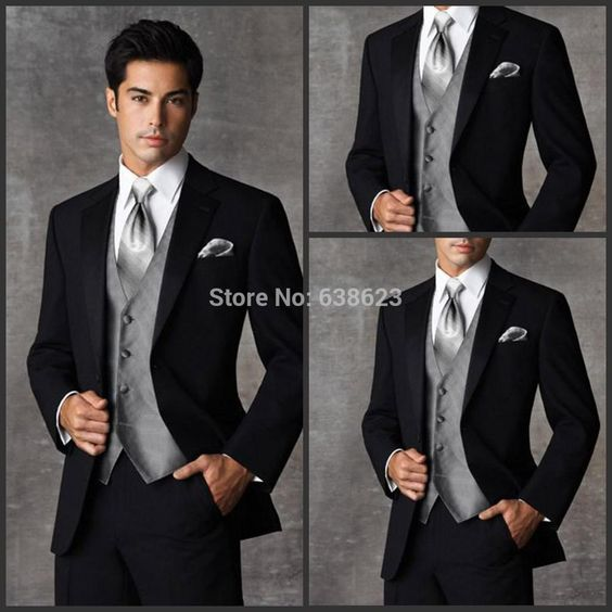 black suit grey vest wedding - Google Search | wedding party
