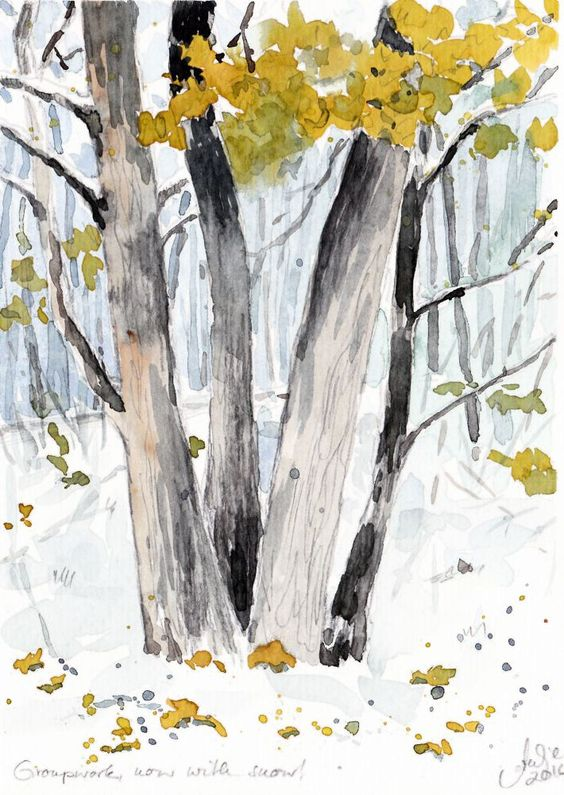 "First snow. Watercolour painting by Antje Gilland, 6 x 8""."