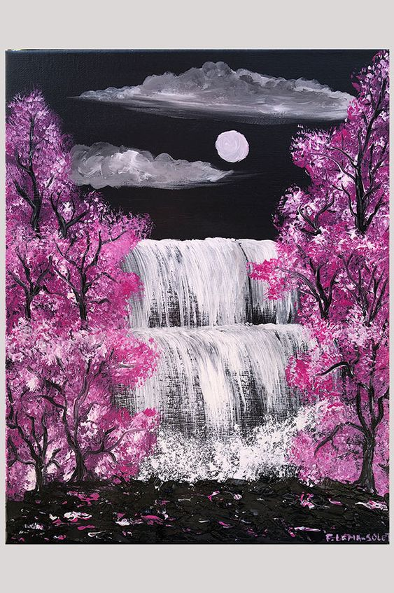 Shop Original Grey And Pink Contemporary Abstract Landscape Painting On Canvas With Cherry Blossom Painting Abstract Art Painting Diy Canvas Painting Landscape