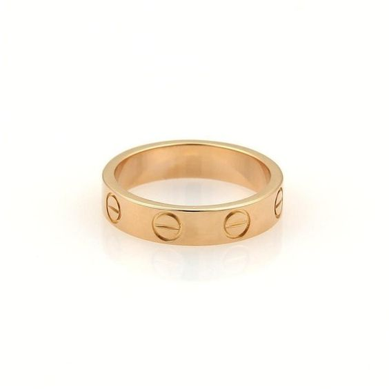 Pre-owned Cartier 18K Rose Gold Mini Love Ring Band Size US 3.25 ($625) ❤ liked on Polyvore featuring jewelry, rings, 18k rose gold ring, red gold jewelry, cartier jewelry, rose gold band ring and red gold ring