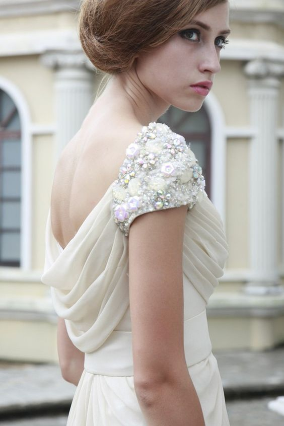 Hera Ivory Dress with Jewelled Shoulder by phenomenalcouture #fashion    J'adore the jewelled shoulder !!