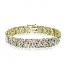 1.00 Ct TDW Diamond Wave Tennis Bracelet Gold Tone
