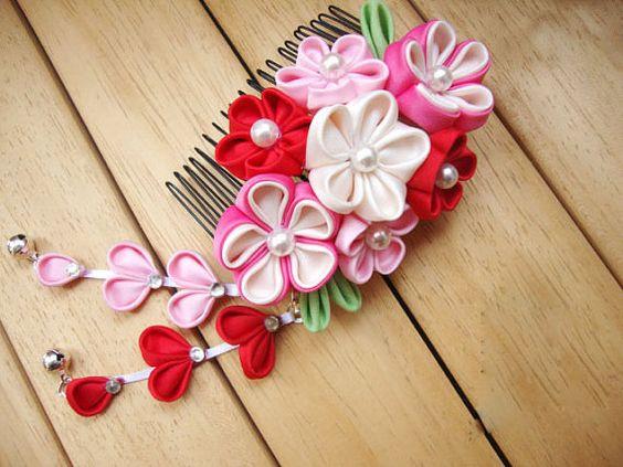 sakura blanco rosa rojo kanzashi gesha maiko kimono por sasameyuki, $21.99