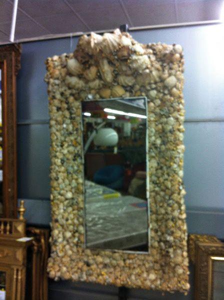 Cr ation d 39 un miroir encadrement coquillages marins style for Encadrement pour miroir