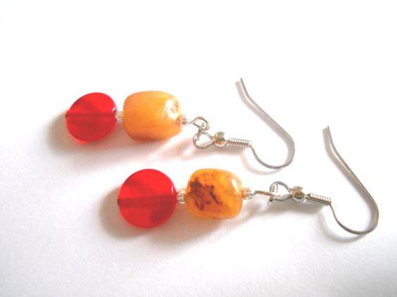 Orange Earrings Carnelian Earrings Orange Silver by chicagolandia