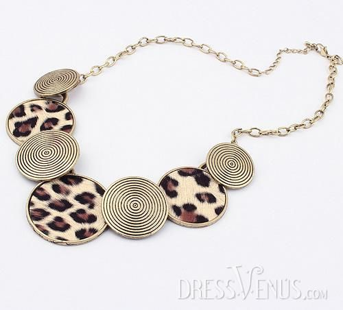Charming Leopard Golden Alloy with Lady's Necklace(more colors)