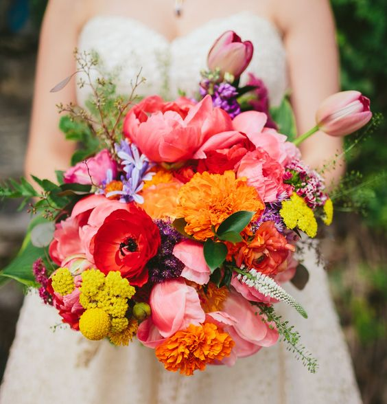love this wild & crazy bright bouquet with peonies, tulpis + marigolds!