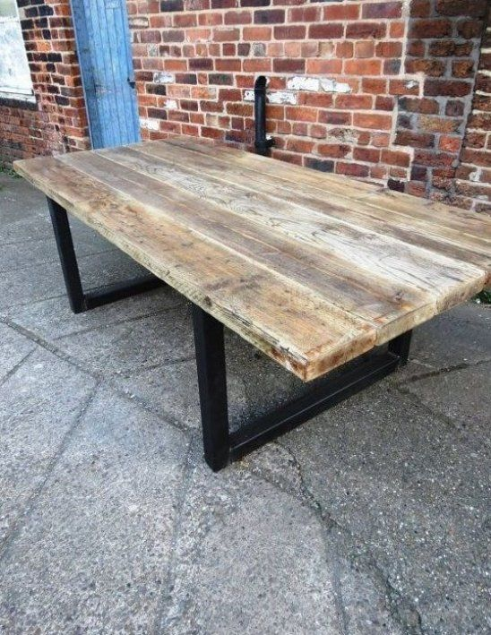 Here Is Our 10 12 Seater Dining Table Made From Reclaimed Timber And 70x70mm Steel The Top Is Made Fro In 2020 12 Seater Dining Table Dining Table Restaurant Furniture
