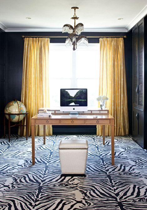 Zebra Rug and pretty desk