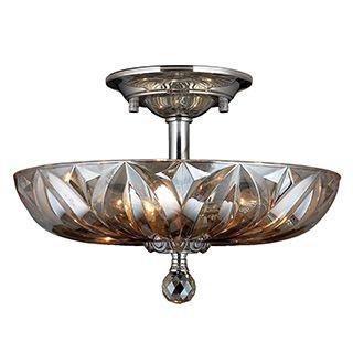 Sparkling 3-light Full Lead Golden Teak Crystal Chrome Finish Semi Flush Mount Ceiling-light | Overstock.com Shopping - The Best Deals on Flush Mounts