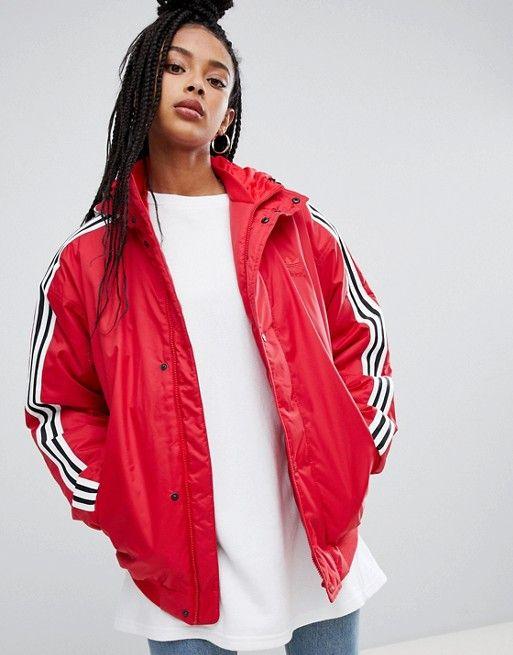 adidas red black rain jacket