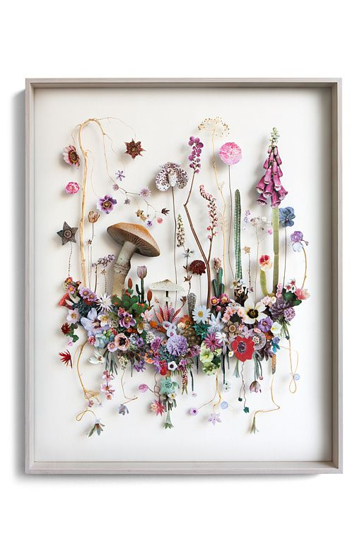 3D Flower Collage from the Artist  Anne Ten Donkelaar.  Imagine a big bang, a firework of flower seeds thrown into space. What would happen? New fragile flowers arise, new flower planets start evolving, planets where no one has ever been. These detailed landscapes seem to be elevated so you can walk through them. Weeds become poetry, each unique twig gets attention, nature seems to float. Flower constructions are 3D collages from pressed flowers and cut out flower pictures.