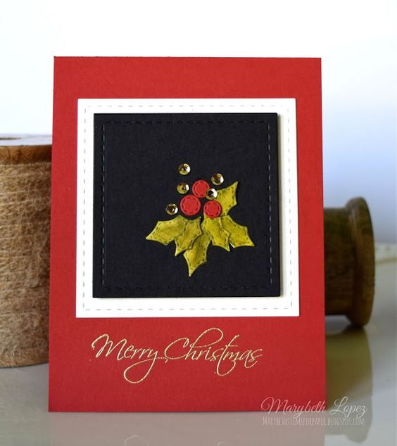 Marybeth's time for paper: Christmas card using Poppystamps Stitched Holly Leaves and Berries