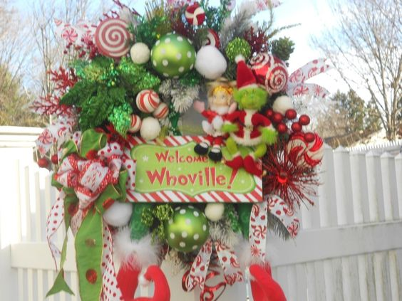 WELCOME TO WHOVILLE, FUN, WHIMSICAL WREATH FOR CHRISTMAS, DOOR, WALL, GIFT #Handmade