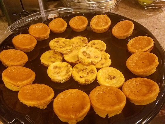 my mimi pumkin pies made with betty crockers pancake mix, vanilla pumkin pies  and delicious mini pumkin cheesecakes the beggining of  my desserts for Thanksgiving tomorrow  201