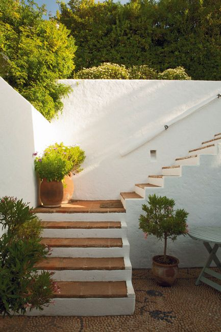 Saltillo stairs with stucco stairs pinterest plantas for Jardin spanish