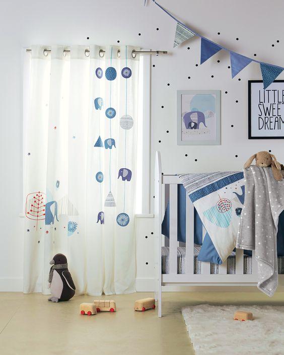 Rideaux blue safari chambre b b babyspace collection automne hiver for Catalogue vertbaudet chambre bebe