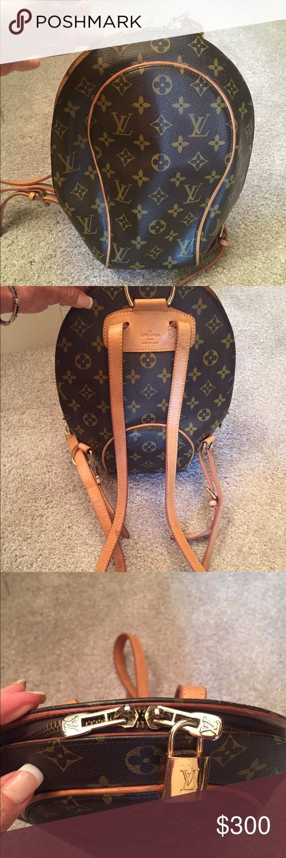 Louis Vuitton Elipse Backpack Bag Purse Louis Vuitton backpack previously used and loved as I used when my boys were little.  Genuine leather straps which hv patinaed nicely, a few normal wear marks on straps no big deal will mk an additional listing for close ups, NO serial number,  some inside stains as this is 7 years old, has lock attached but lost the key, priced accordingly...not claiming authentic...better price through 🅿️🅿️ Louis Vuitton Bags Backpacks