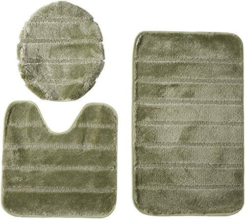 Louise Ribbed 3 Piece Bathroom Rug Set Bath Rug Contour Rug Lid