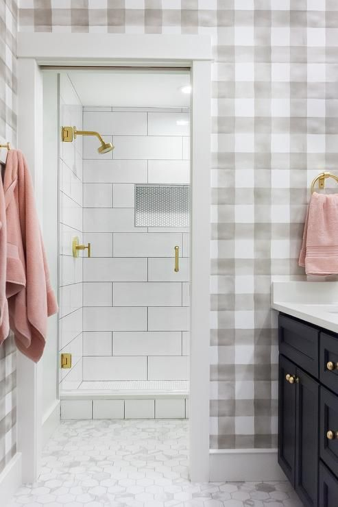 Gorgeous Cottage Kid S Bathroom Is Covered In Gray Buffalo Check Wallpaper As Hexagon Floor Til In 2021 Kids Bathroom Buffalo Check Wallpaper Blue Nautical Bathrooms Bathroom tile over wallpaper
