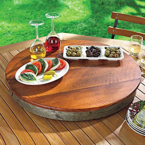 Raised Wine Barrel Lazy Susan at Wine Enthusiast - $129.95