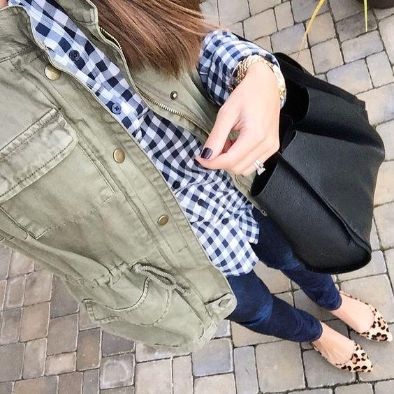 cargo vest. gingham shirt. leopard flats. Black tote bag: