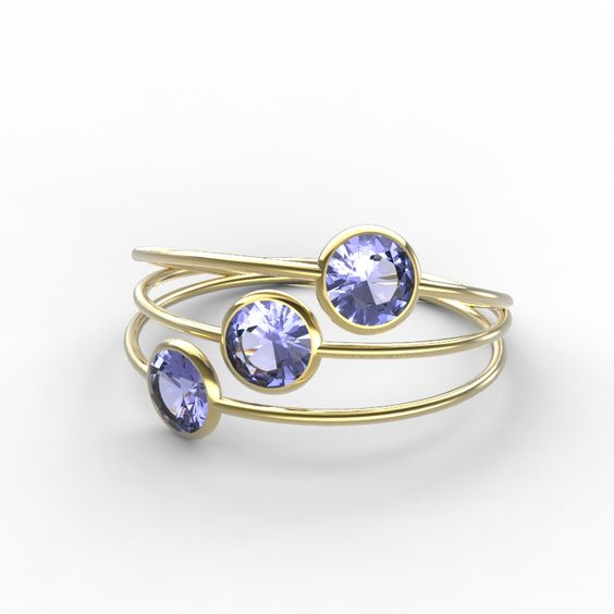 Bague moana or jaune tanzanite gemmyo