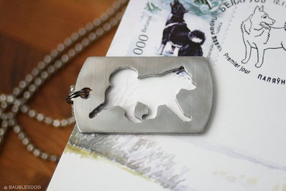 Free Shipping - Stainless steel Pendant Husky Eskimo Dog Siberian Husky Huskie Siberian Huskie cutout with chain and cord