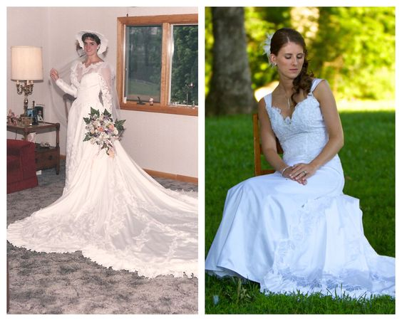 1987 Wedding Dress to 2011 Wedding Dress!  Did you mother throw out the idea of using her wedding dress?  Don't just toss the idea out without giving it some thought.  Justina used her mother's 1987 wedding dress and turned it into her own for her 2011 wedding.  Find a local seamstress, give them your ideas, and let them work their magic.  Something old, something new, and something borrowed all in one.
