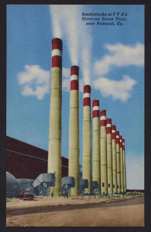 Shawnee Steam Plant Paducah Kentucky KY linen postcard