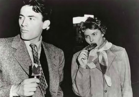 Gregory Peck and Ingrid Bergman on the set of Spellbound (Alfred Hitchcock, 1945)