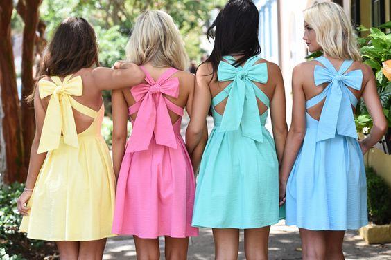 Pastel bow back dresses from Lauren James.