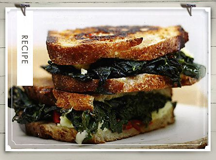 Kale Panini  serves 4    Billy Cotter devised this delicious meaty sandwich for his vegetarian wife, Kelli, at their restaurant Toast, in downtown Durham.    2 big bunches of curly kale (about 1 pound total), stemmed, leaves torn into pieces  1 1/2 tablespoon kosher salt  1 tablespoon olive oil, plus more for grilling  1 tablespoon red wine vinegar...