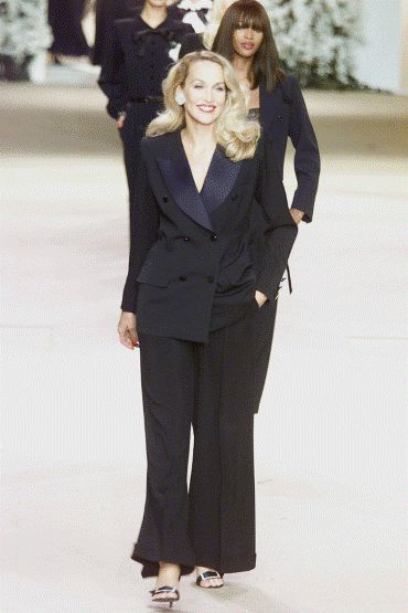 THE TUXEDO: 50 years old It's 50 years since Yves Saint Laurent created his iconic ' Le Smoking ' tuxedo for women. Here supermodels Jerry Hall and Naomi Campbell model the style in 2002 for Yves Saint Laurent's Haute Couture show. Smoke without fire  wie auch immer ...