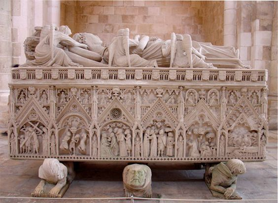 """Pedro and Ines rest hopefully in peace in the beautiful Monastery of Alcobaca, their matched tombs inscribed with the words """"Até o fim do mundo..."""" or """"Until the end of the world..."""" Peter I of Portugal, 14th century fell in love with his wife's lady in waiting, father had her assassinated (after 4 children): when Peter became king, Legend is he had Inês' body exhumed, placed upon a throne, dressed in rich robes and jewels, requiring all of his vassals to kiss the hand of the deceased…"""